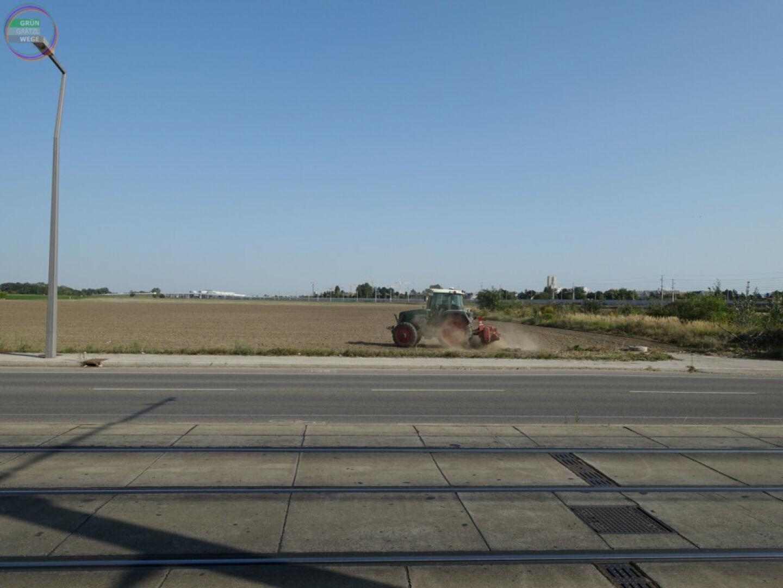 Bild Weg 5 Straße mit Straßenbahngleisen vor Feld mit Traktor