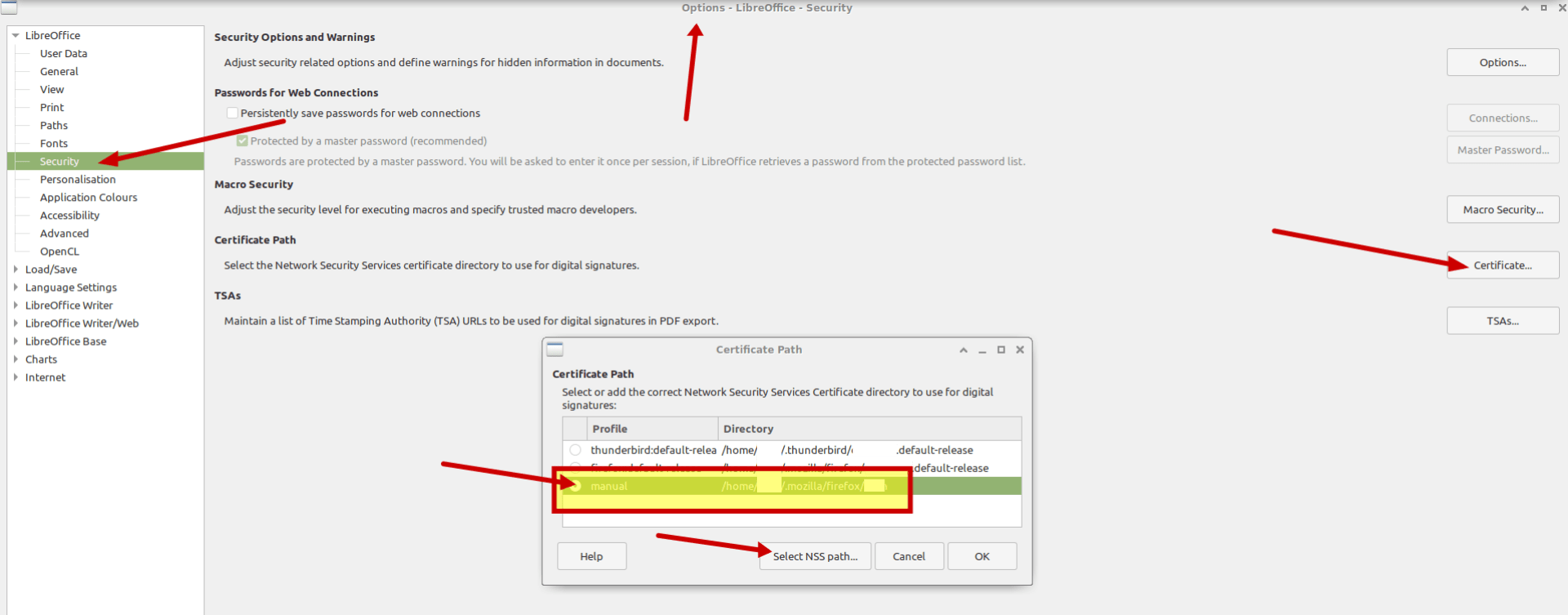 NSS path in LibreOffice Options